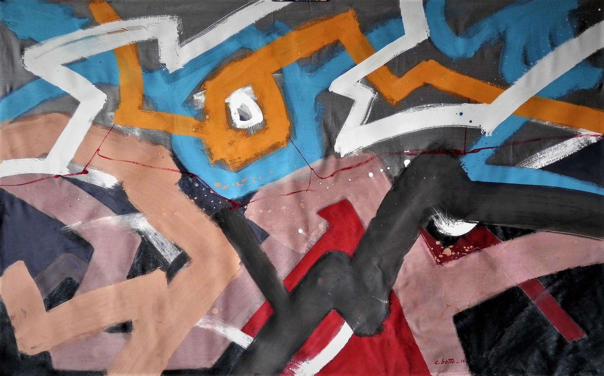Dalle ceneri della storia, acrilico su tela 131x81, 5.12.2014 Cesare Botto